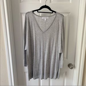 Pure Energy gray v-neck blouse